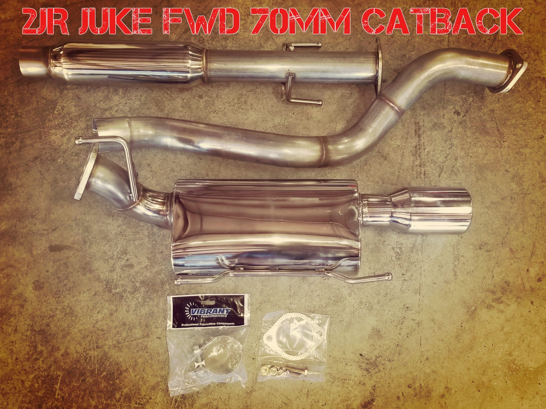 2JR FWD Juke 70mm Stainless Catback Exhaust